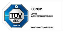 logo of TUV SUD ISO 9001 - certified quality management